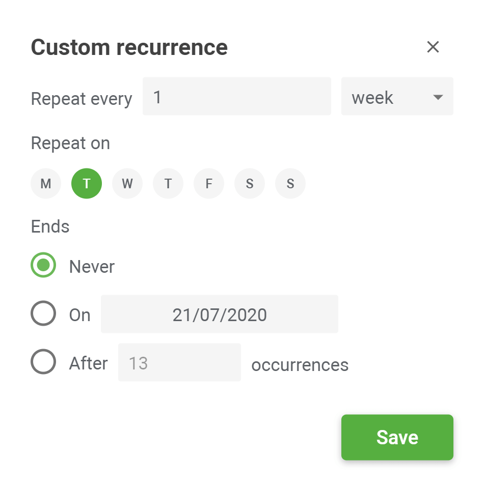 Planyway custom recurrence settings