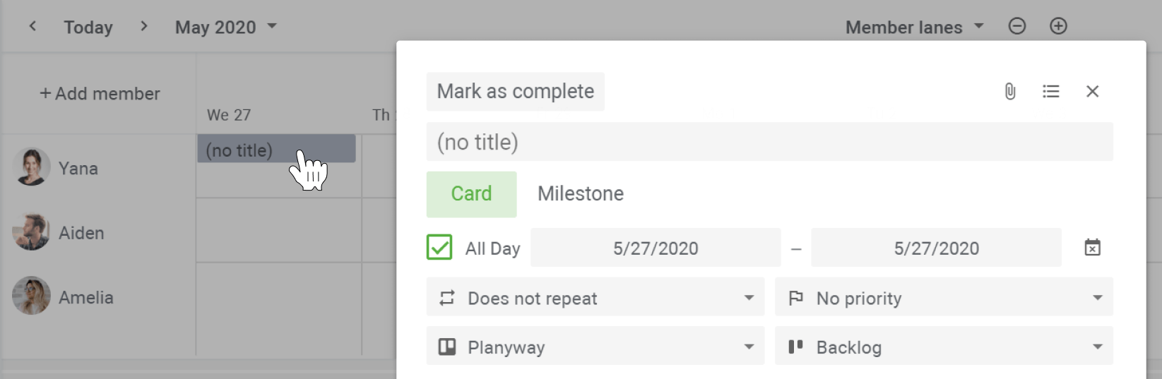 Planyway Getting Stated Add Card By Click