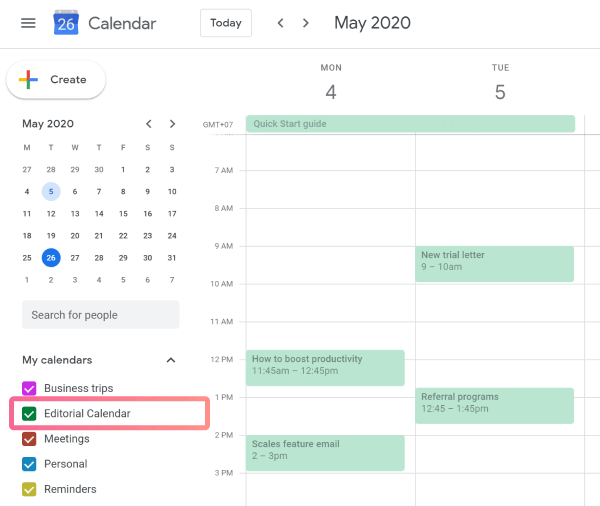 Planyway Getting Stated Created Calendar