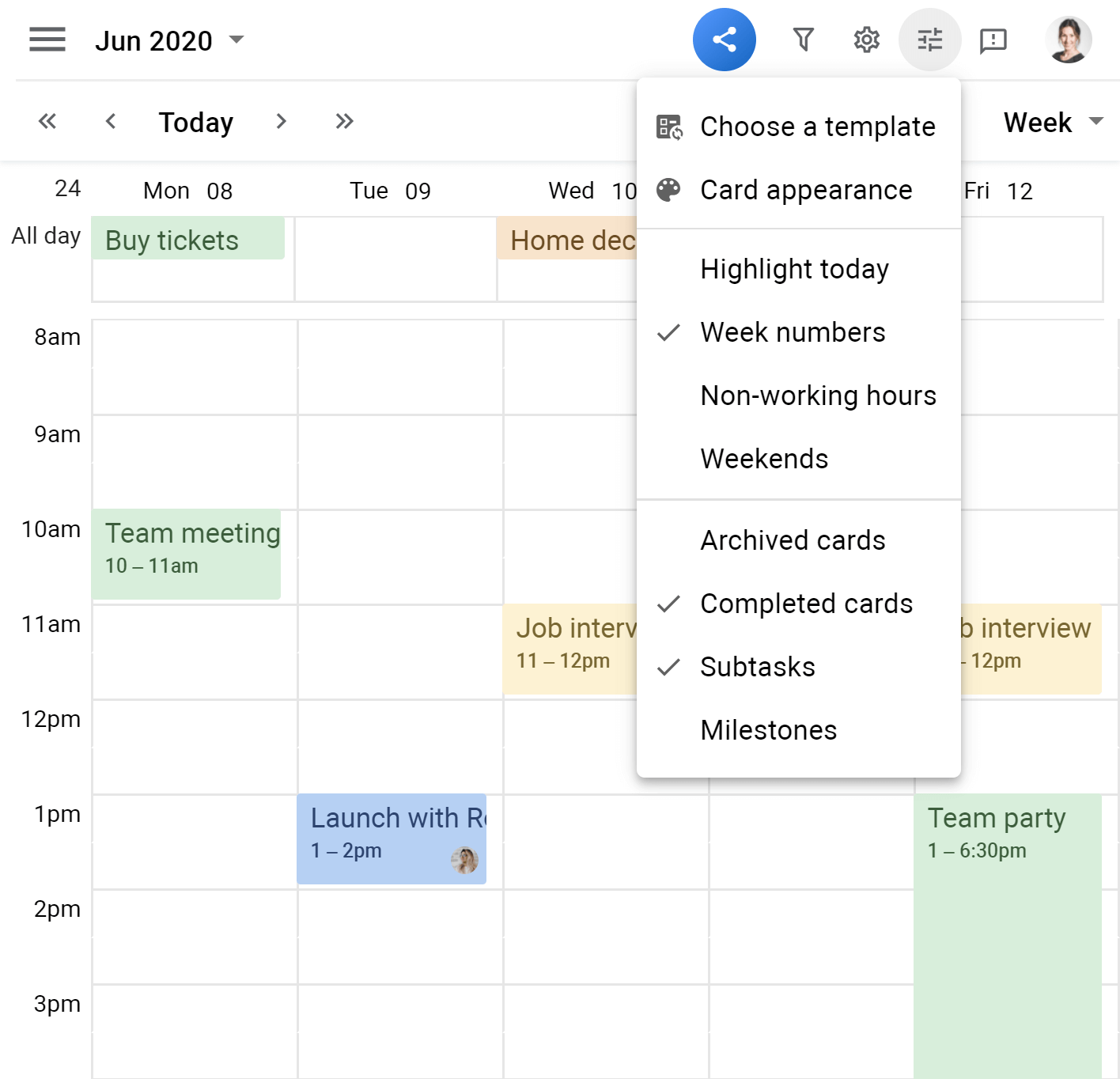 Planyway Calendar view calendar options