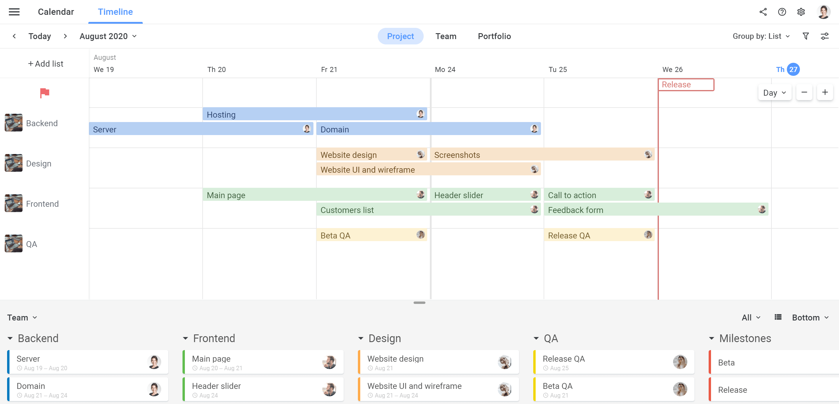 Planyway Getting Stated Project Timeline Lanes