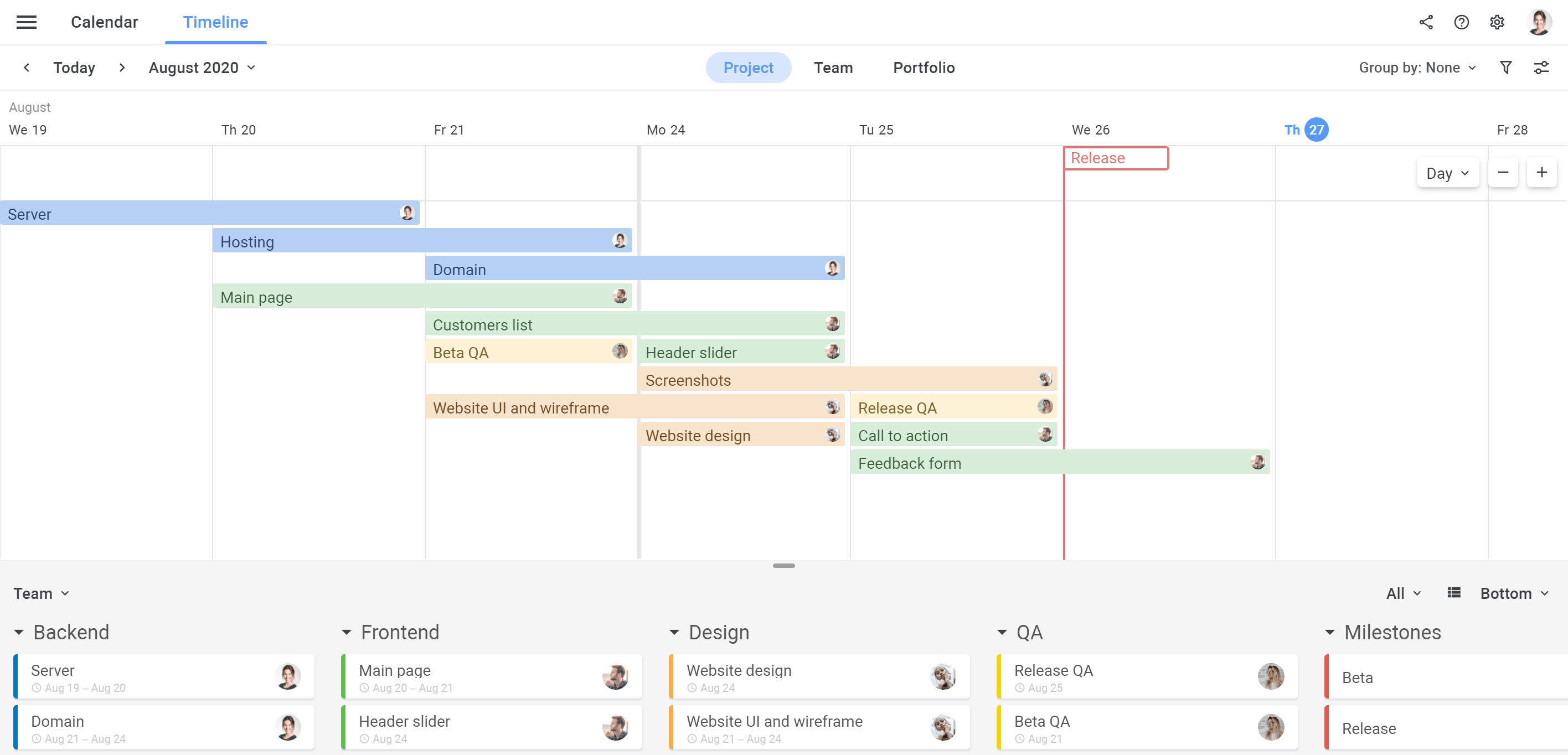 Planyway Getting Stated Project Timeline No Lanes