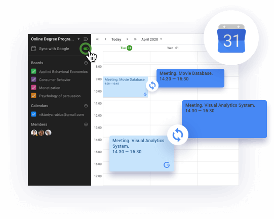 Sync class schedule with personal calendar