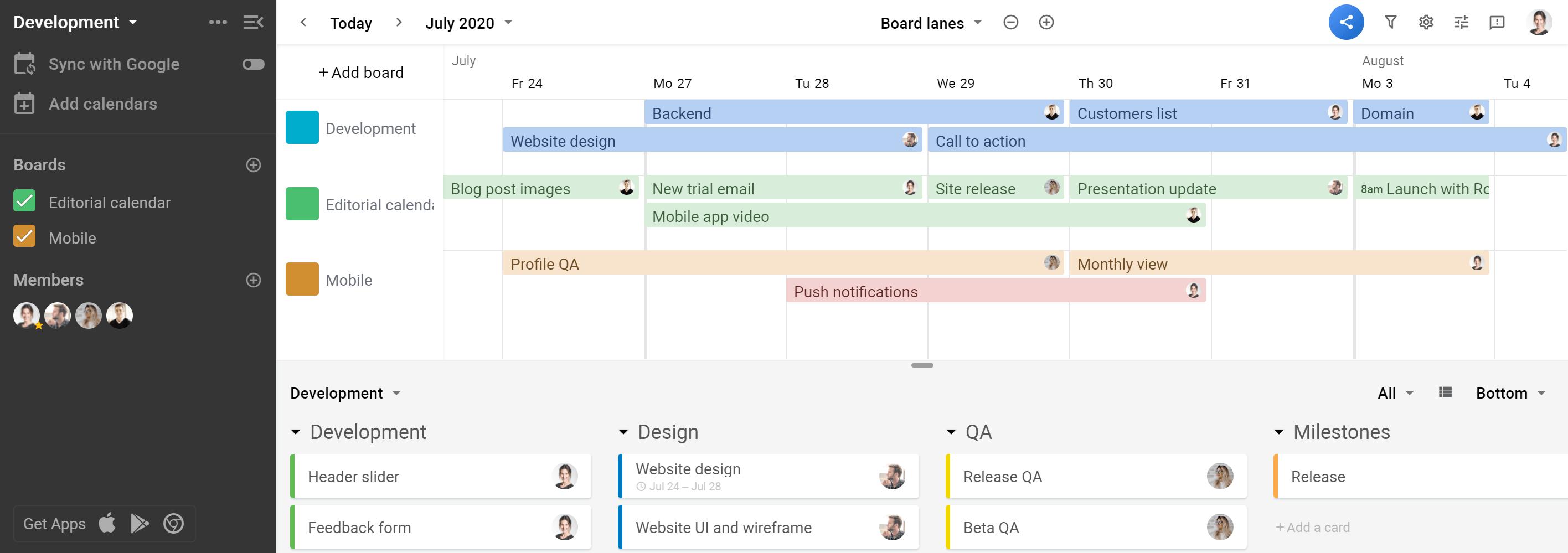 Planyway Team timeline portfolio mode