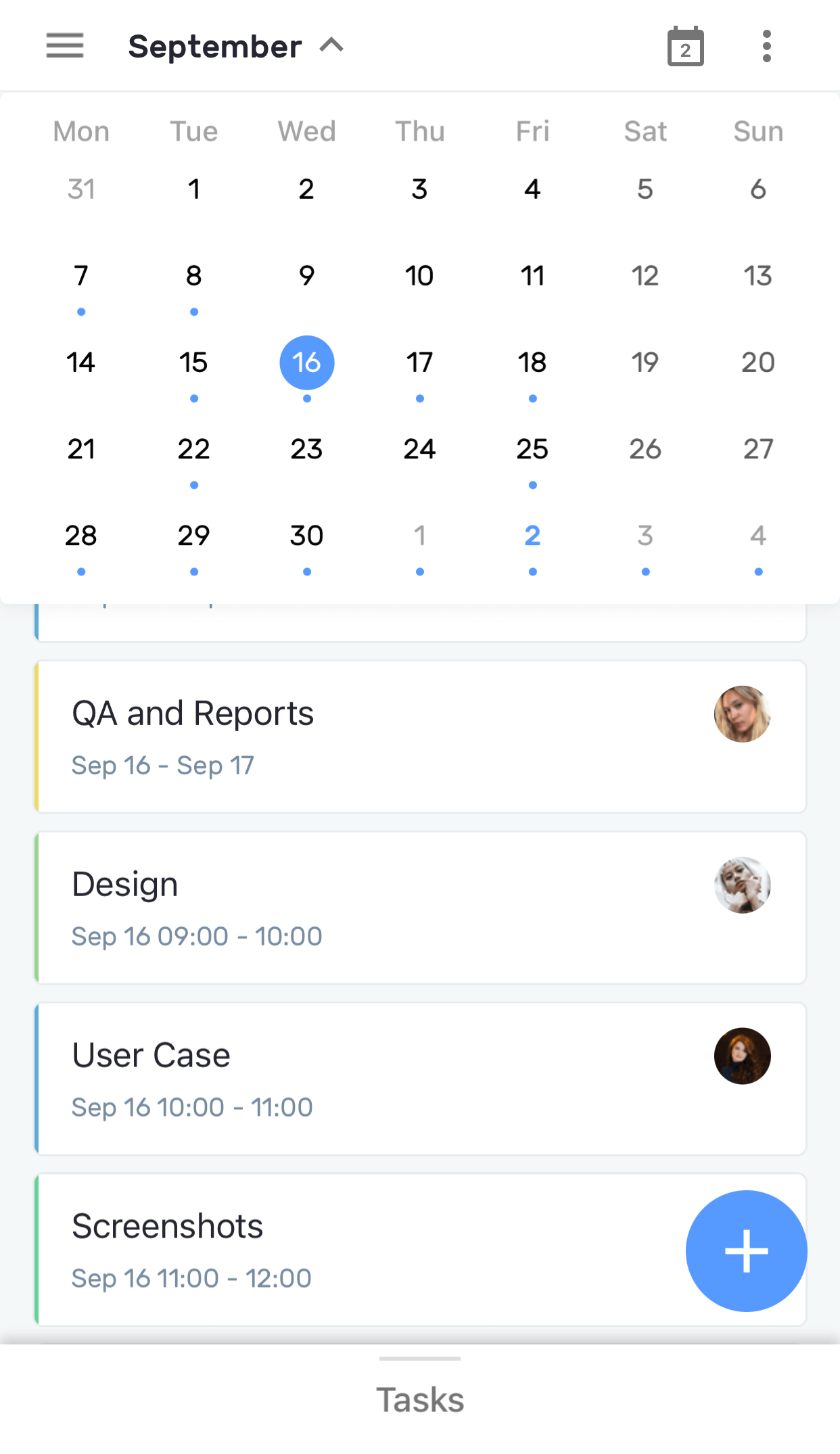 Planyway Mobile Month View