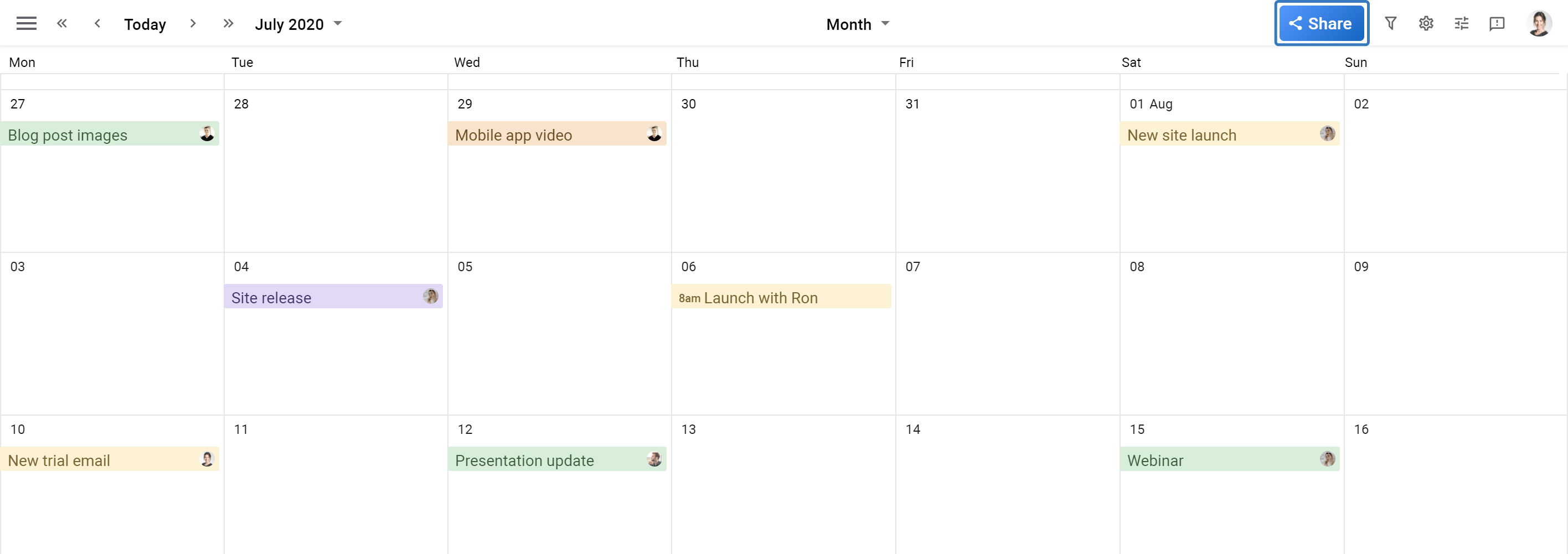 Planyway Calendar view sharing