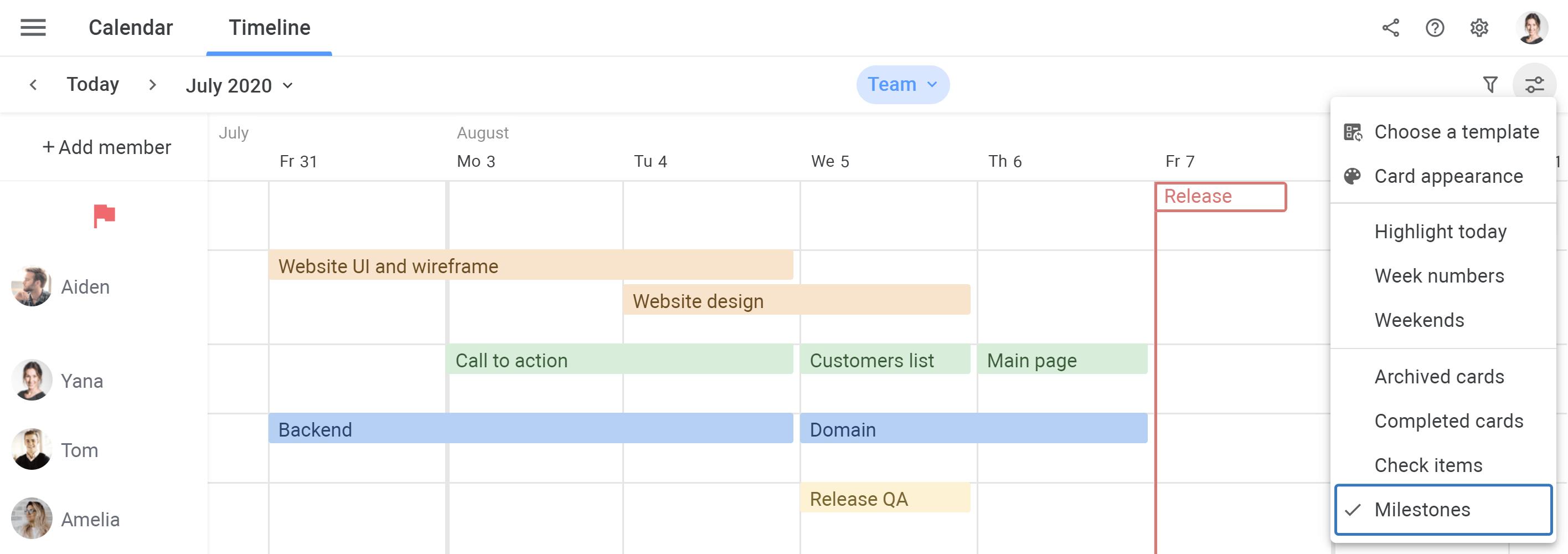 Planyway milestones in settings