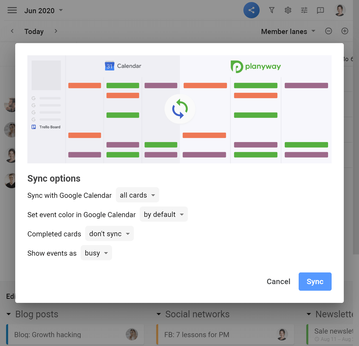 Planyway google sync options