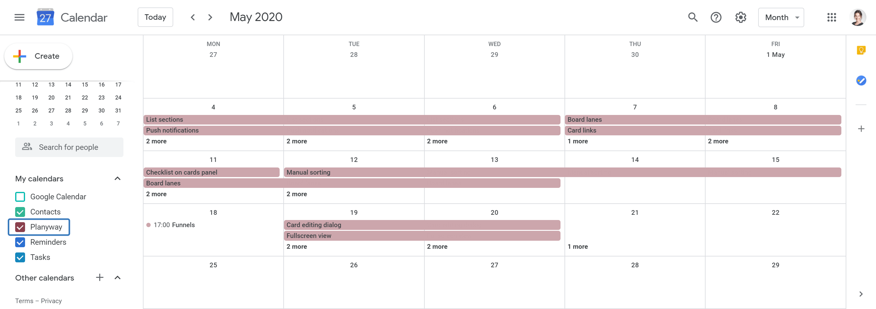 Planyway Getting Started Created Calendar