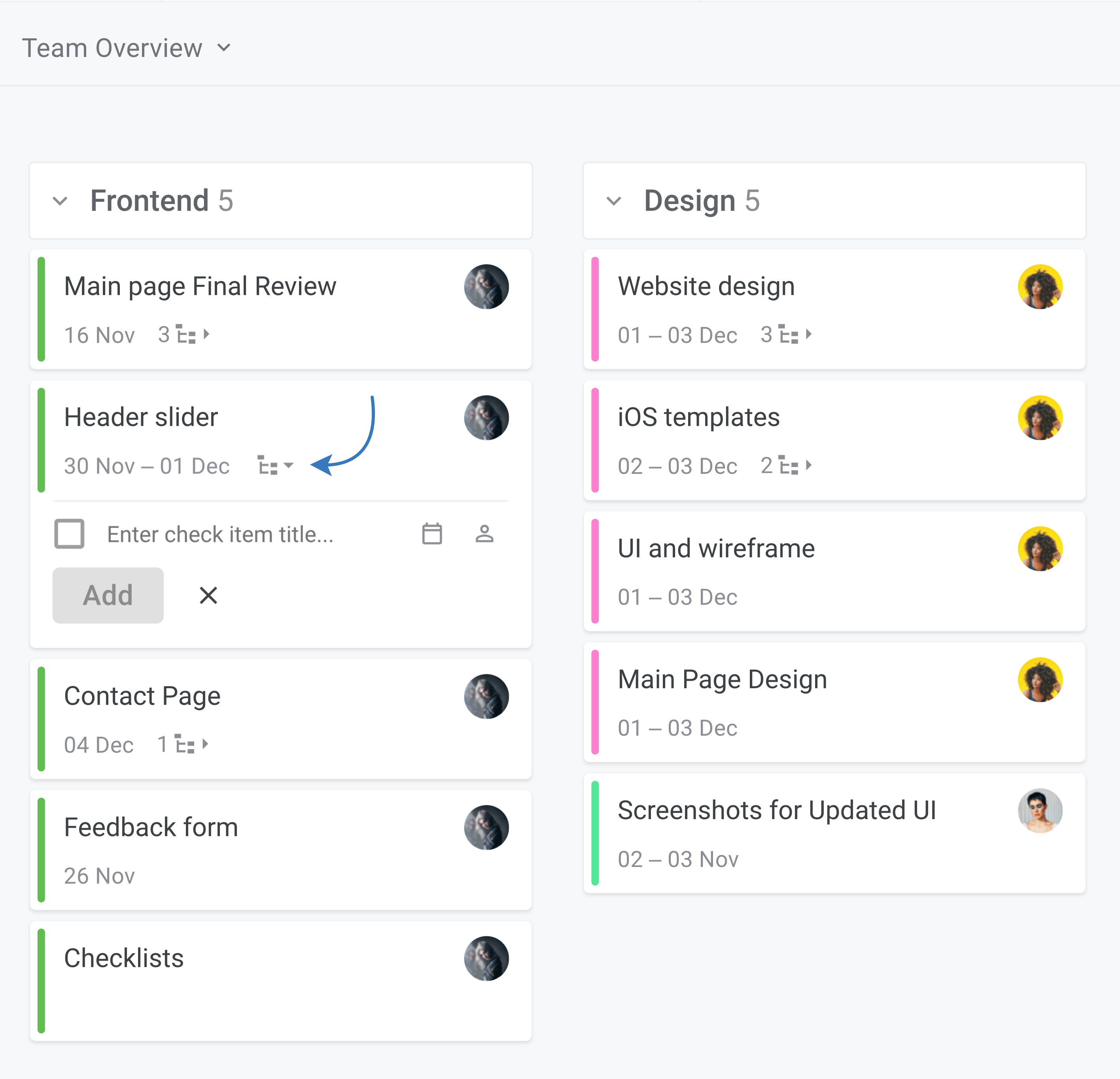 Planyway checklists add new checkitem from task list