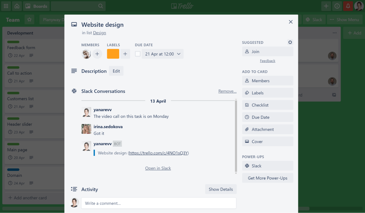 Planyway slack power-up