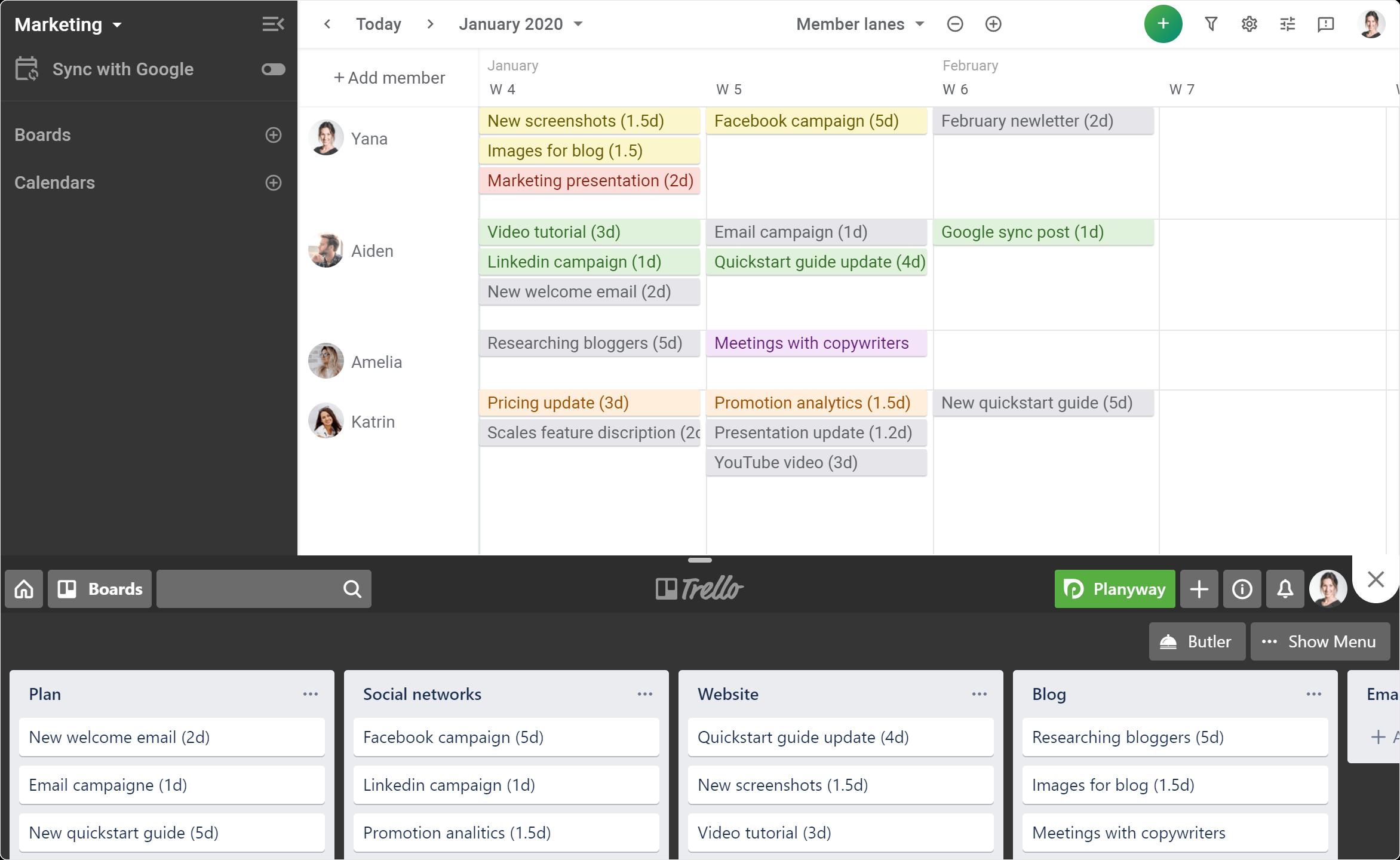 team-calendar-for-agile-weekly-planning-screenshot image