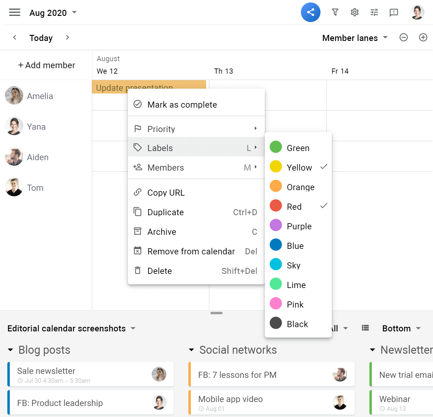 Planyway color-coding cards selecting color