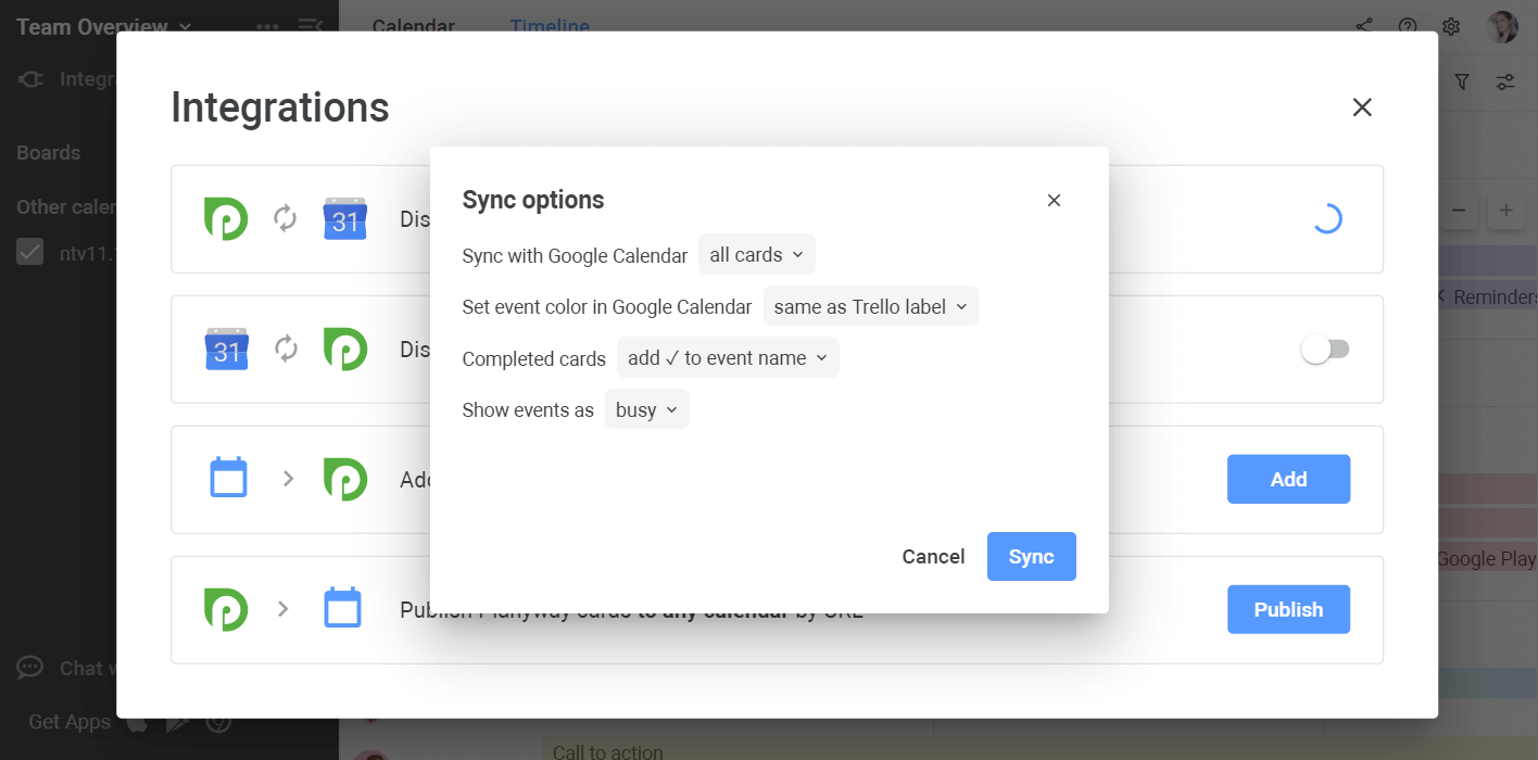Planyway google sync settings