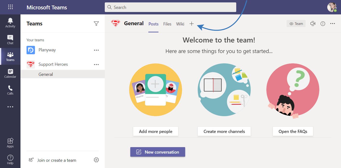 Microsoft Teams click plus