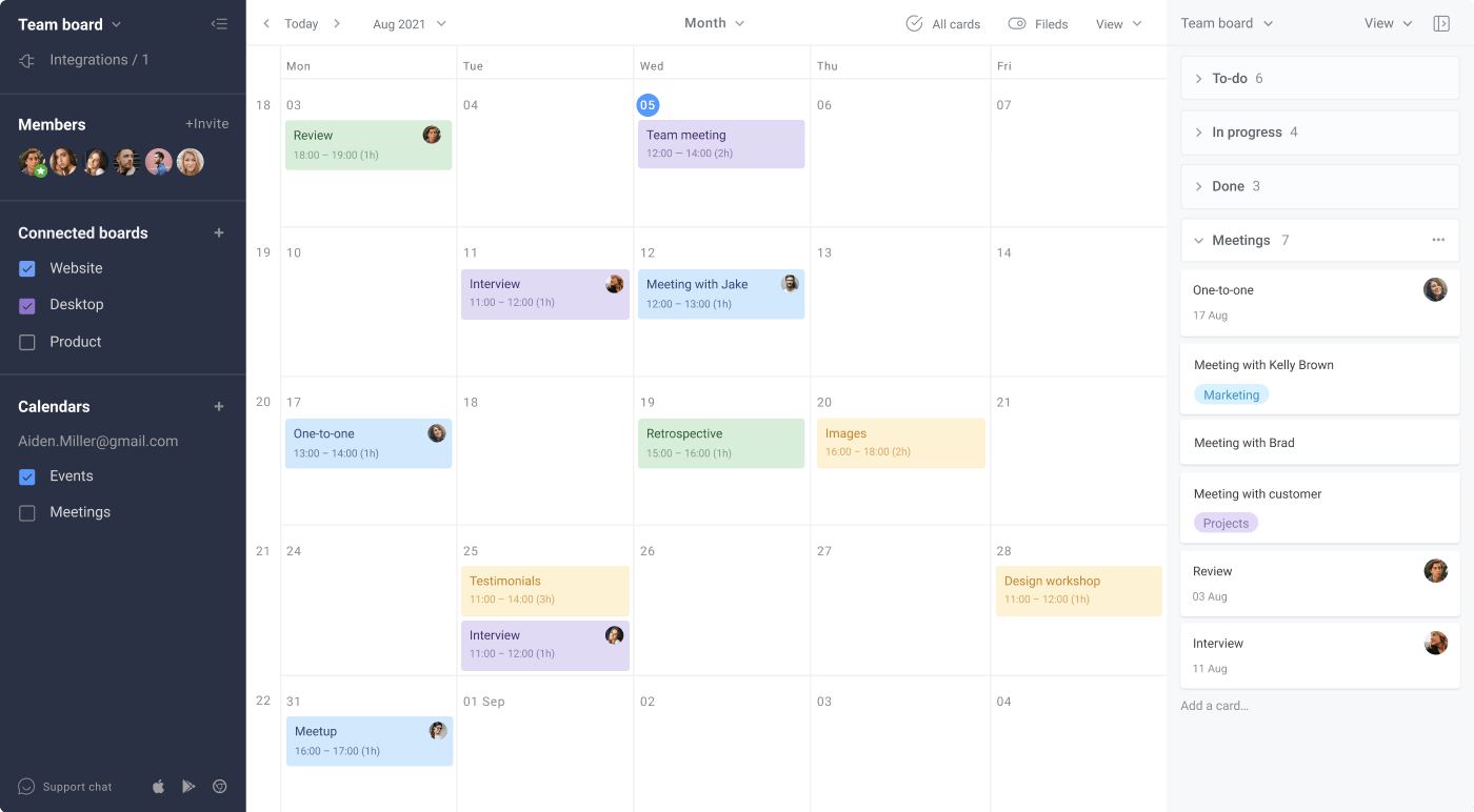 Visual Project Management Options Calendar