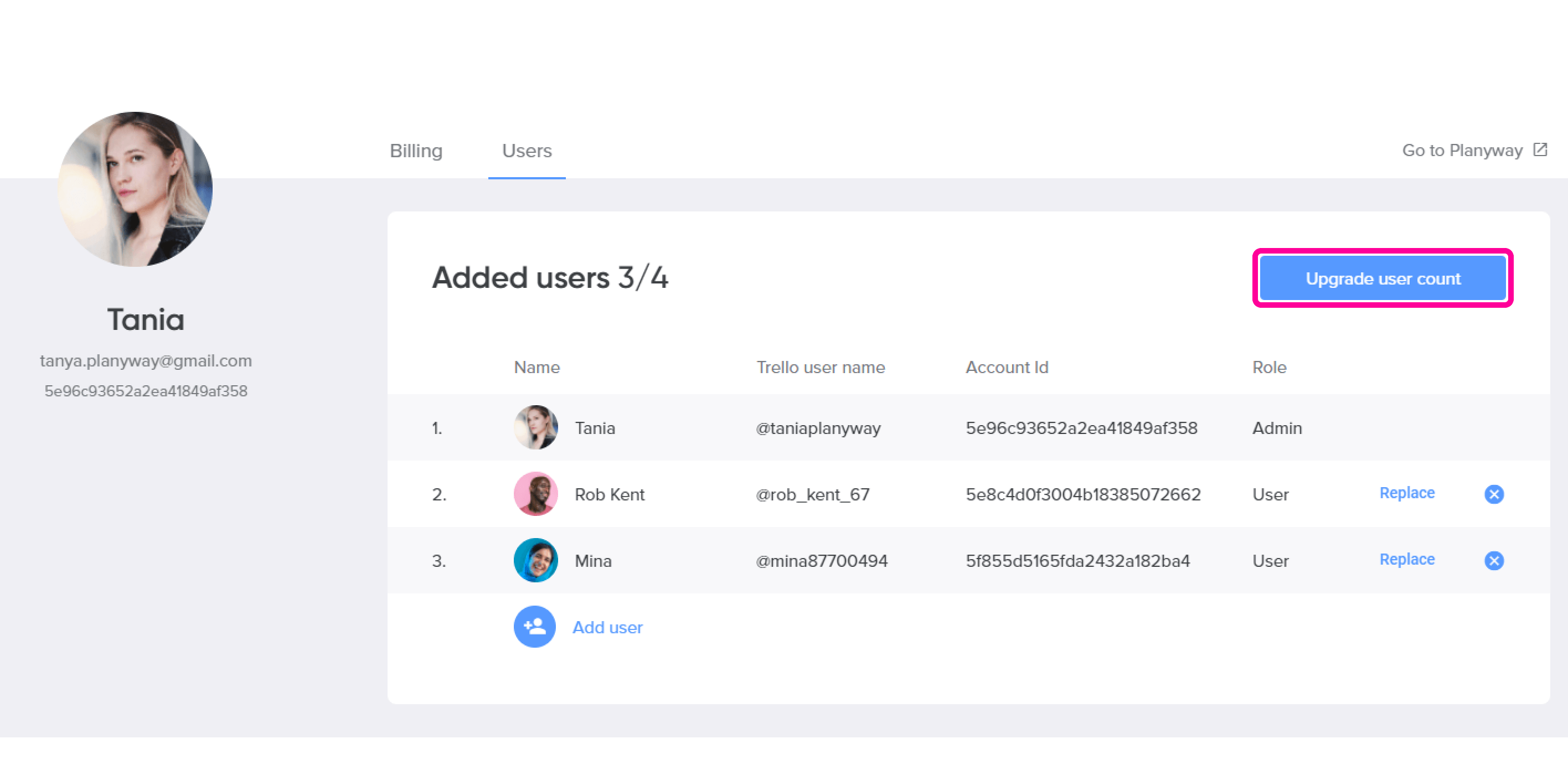 Account Upgrade user count