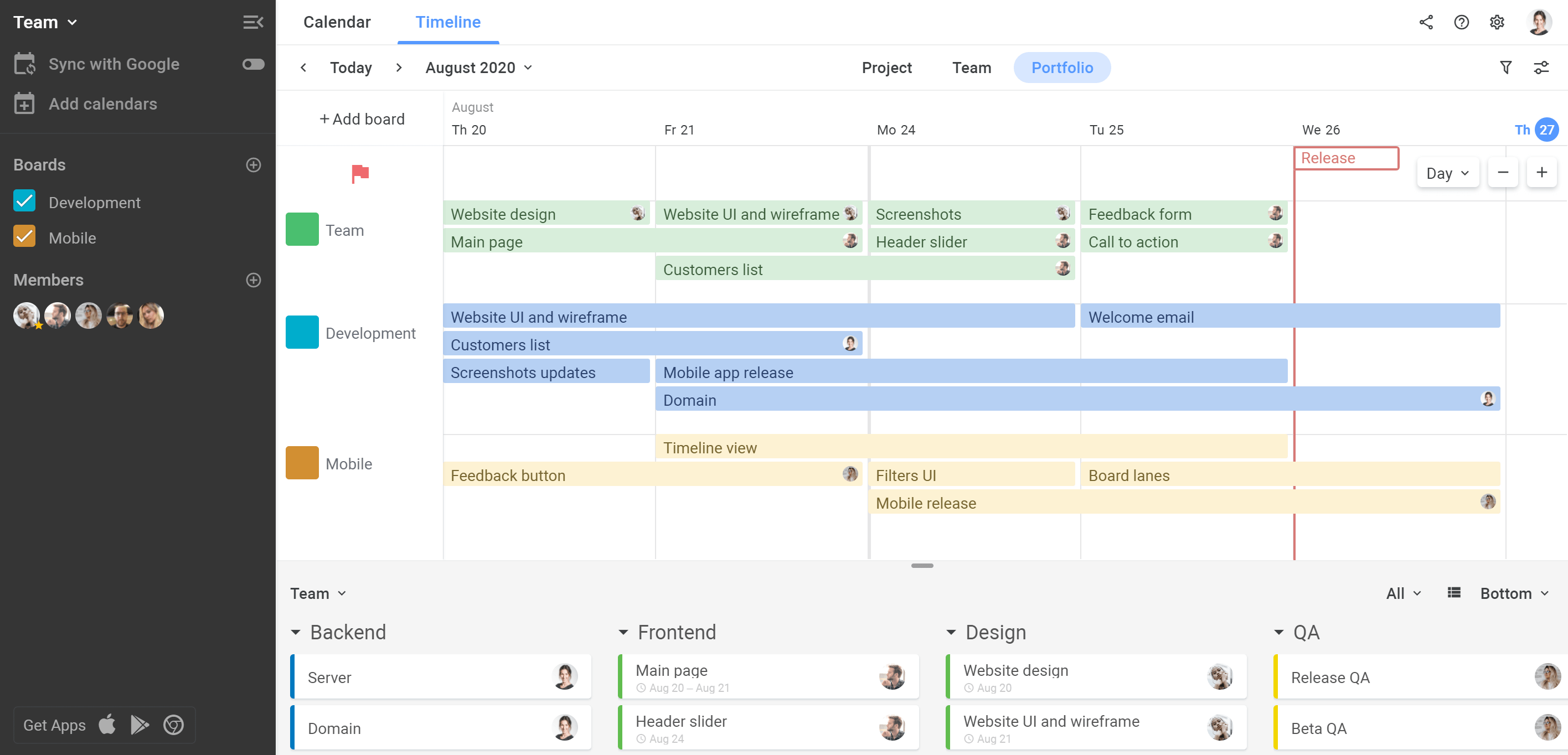 Planyway Getting Started Portfolio Timeline