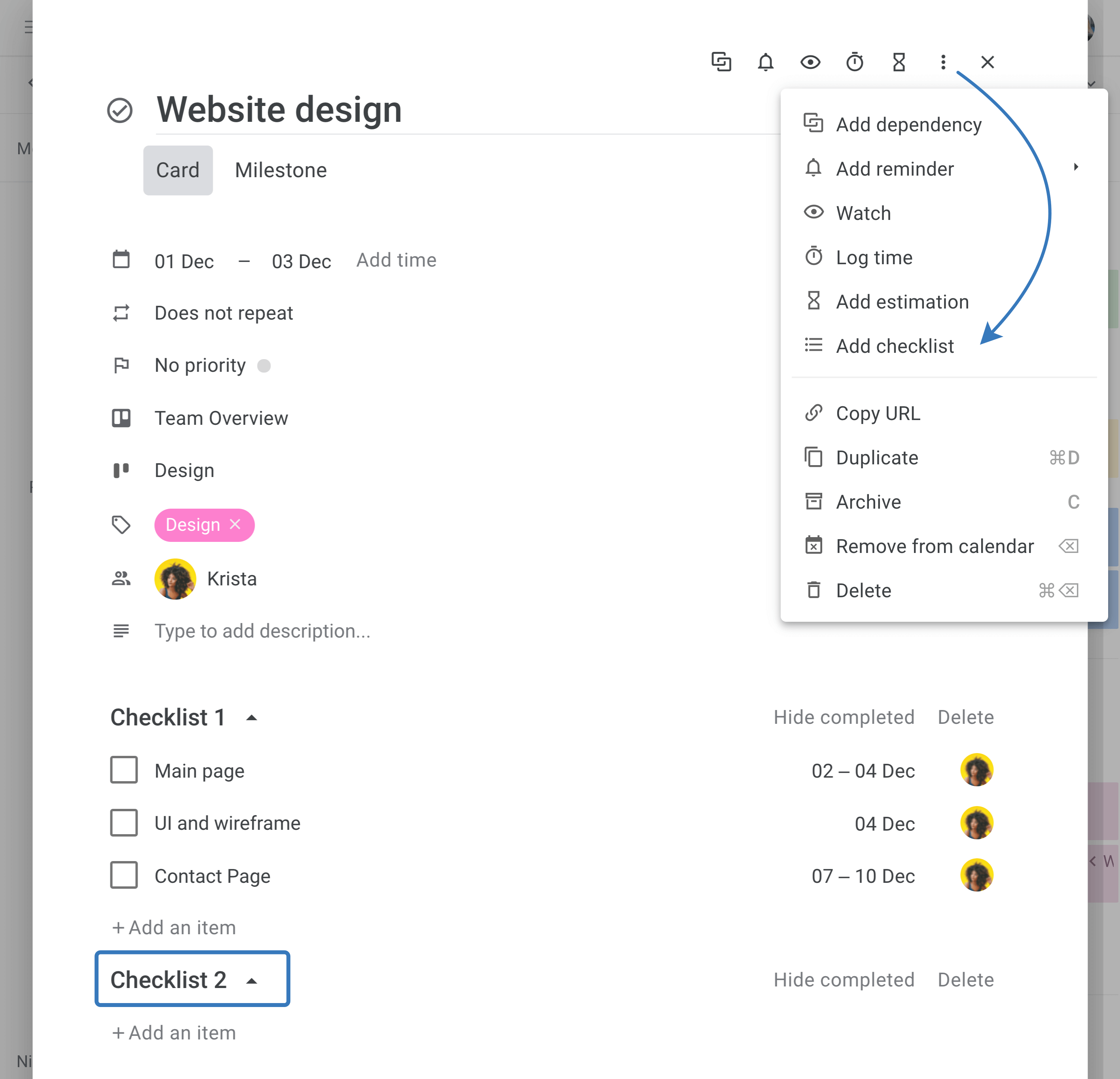 Planyway create multiple checklists