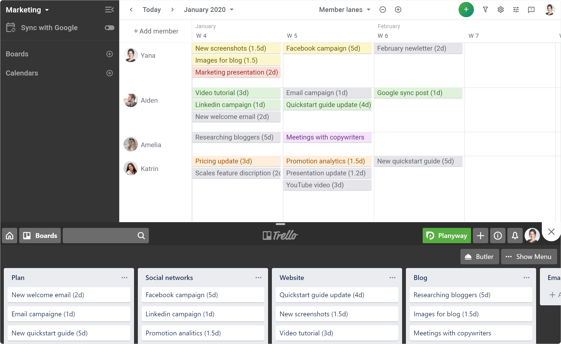 team-calendar-for-agile-weekly-planning-screenshot image