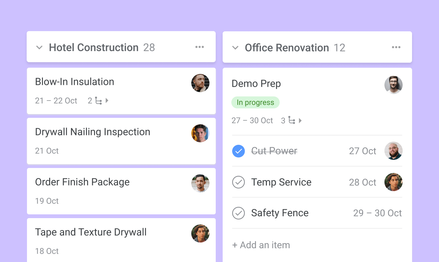 construction scheduling boards