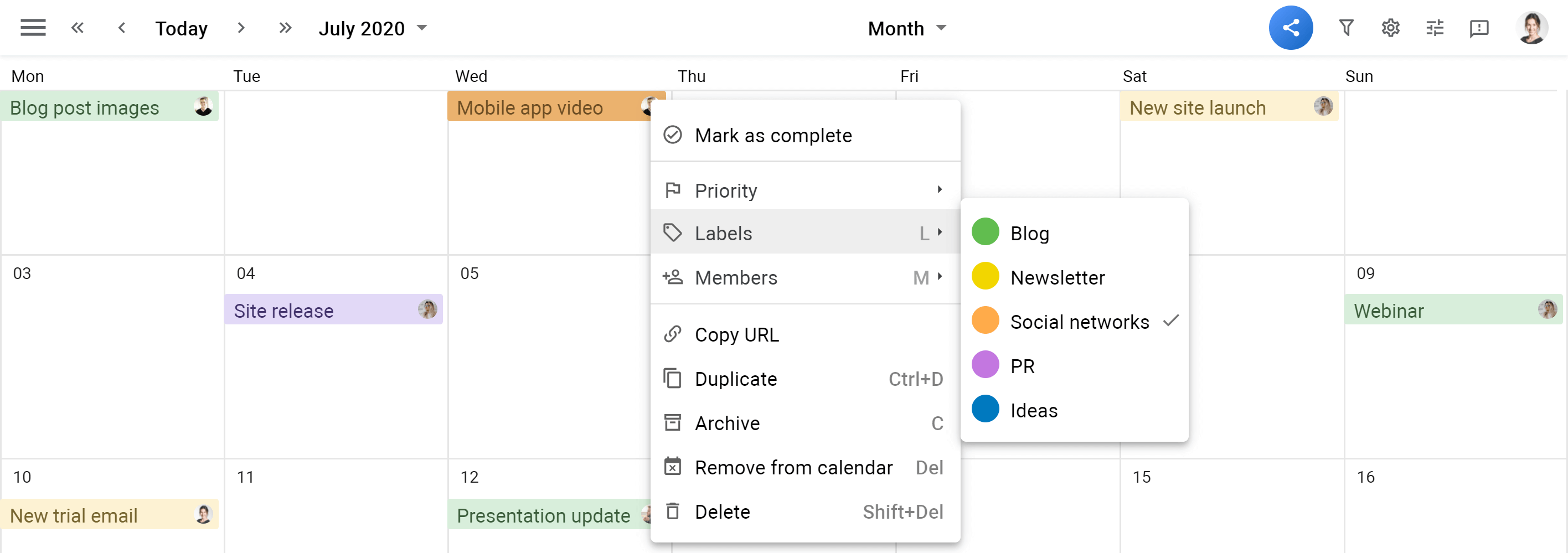 Planyway Calendar view color lables