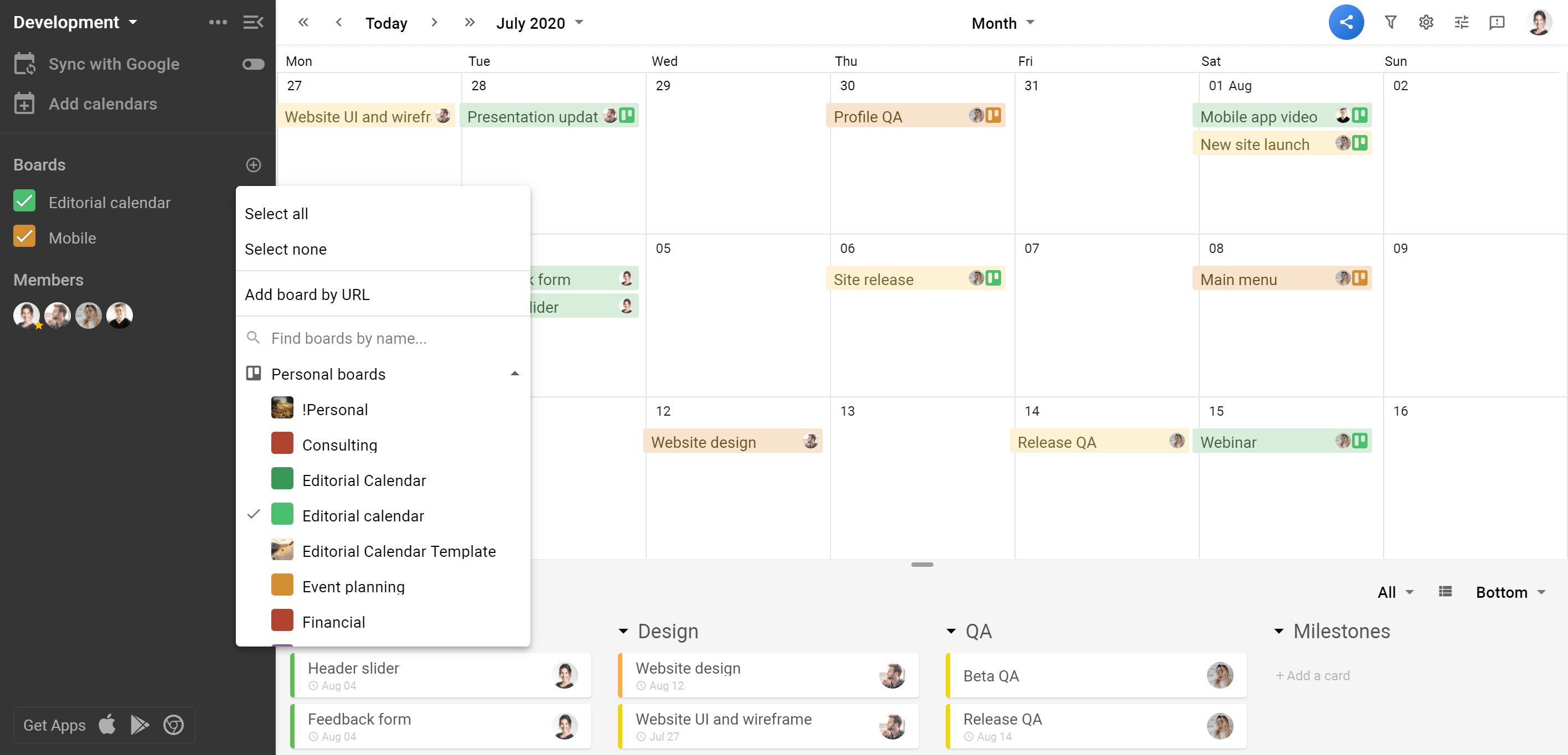 Planyway Calendar view multiple boards