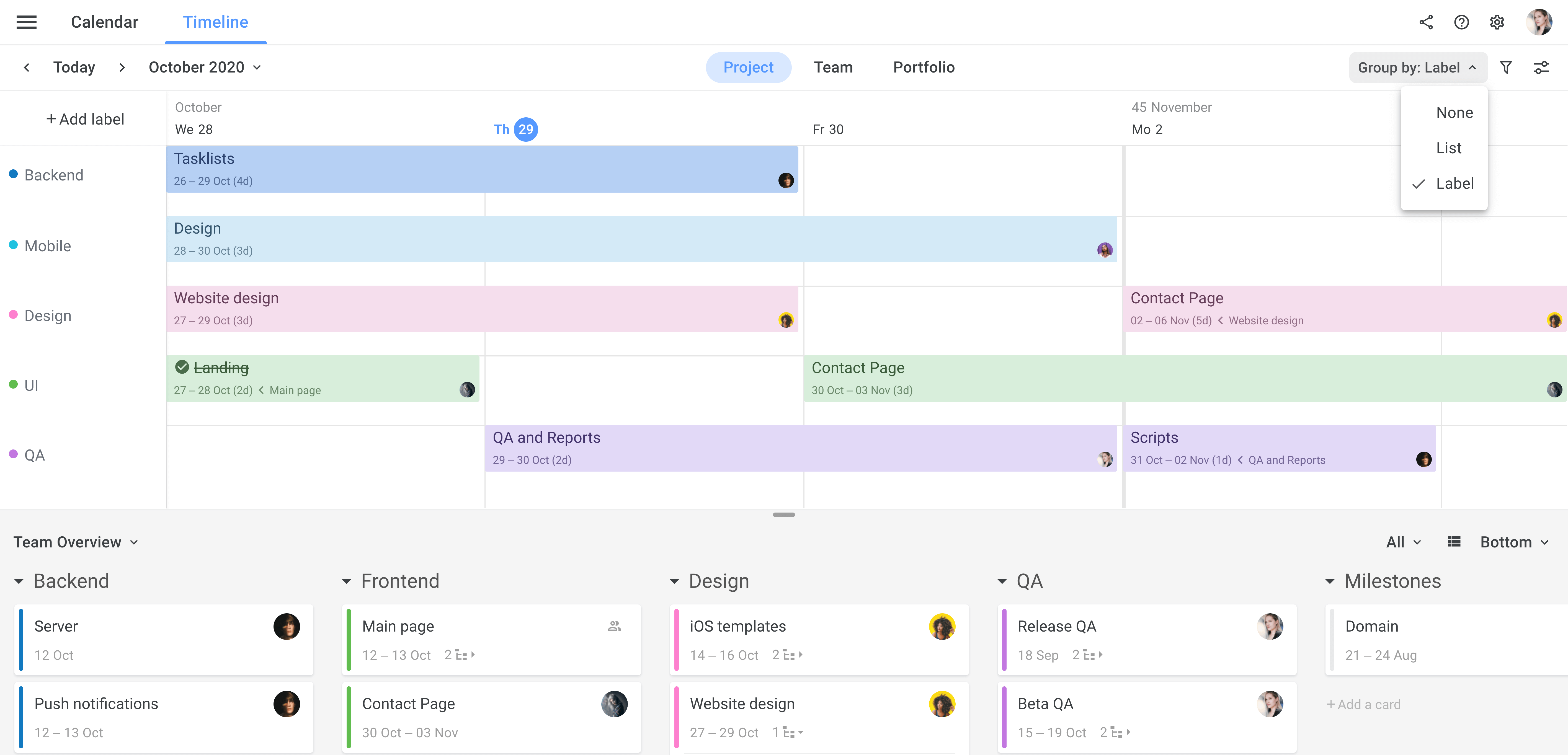 Planyway Team timeline group by label