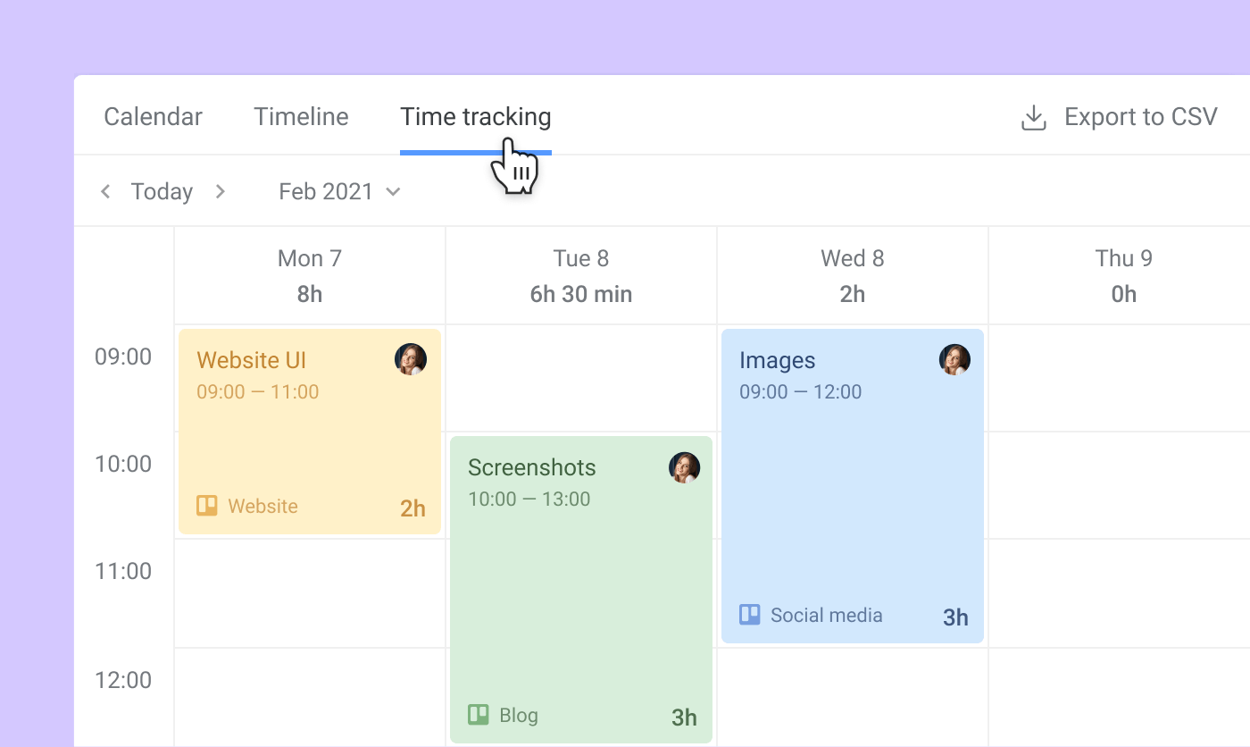Time tracking view