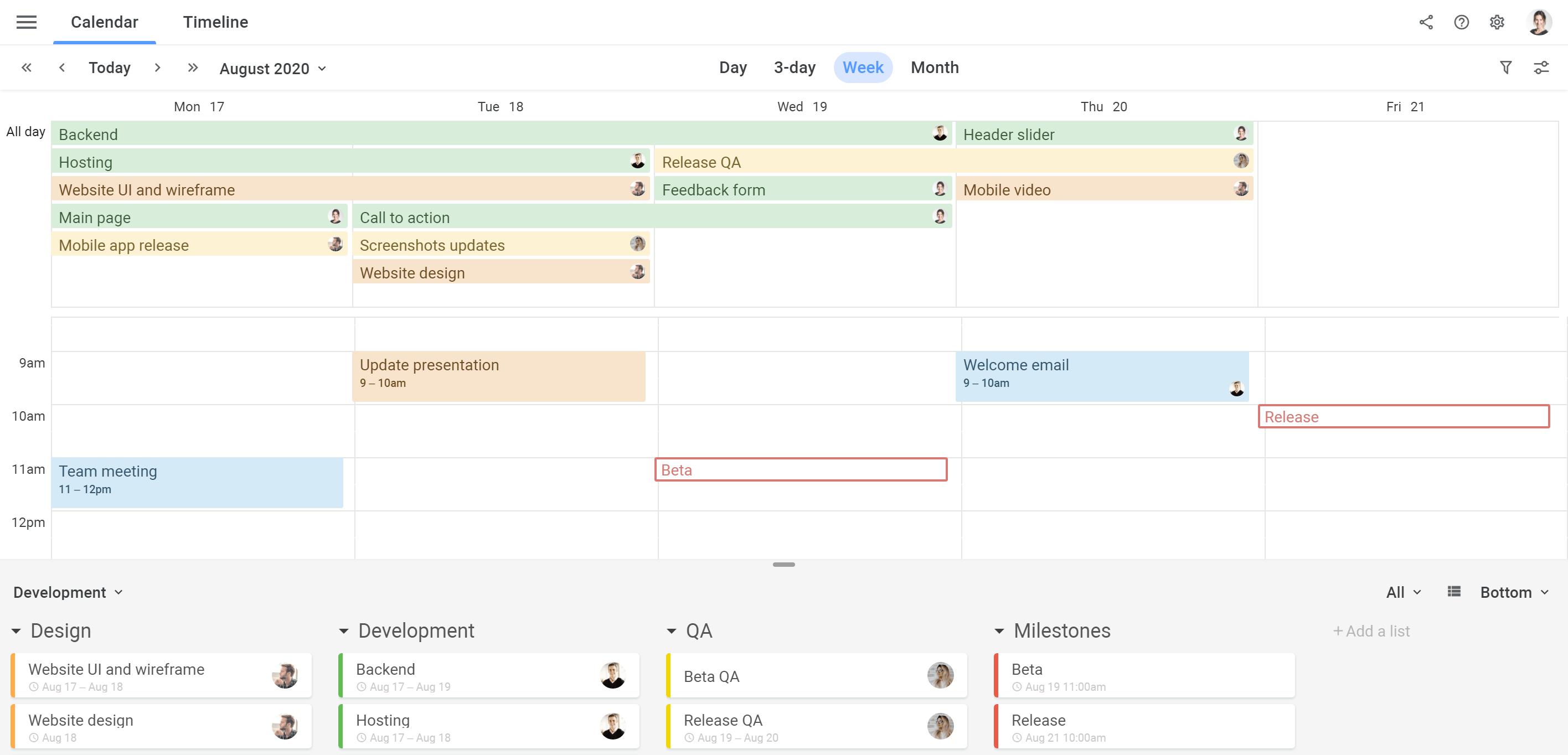 Planyway milestones in calendar view