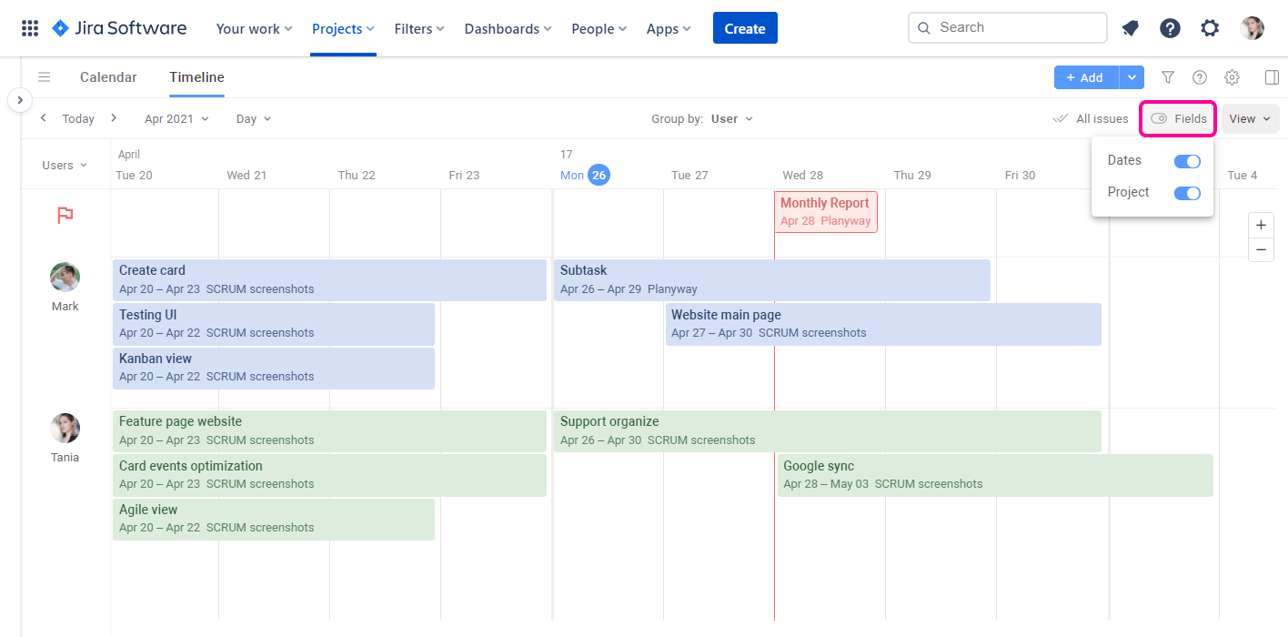 Planyway for Jira Cloud Guide Card Fields