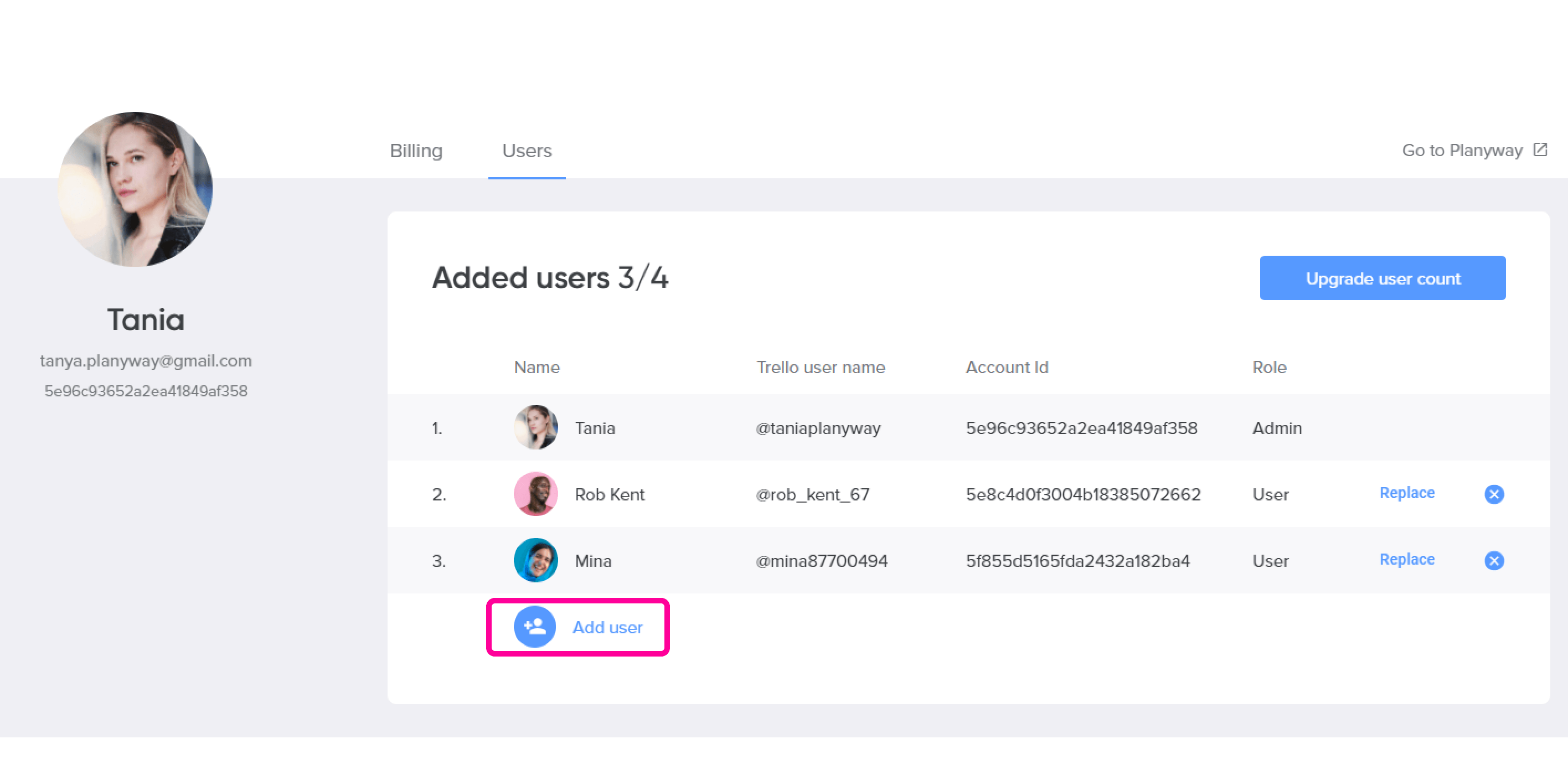 Account Add user