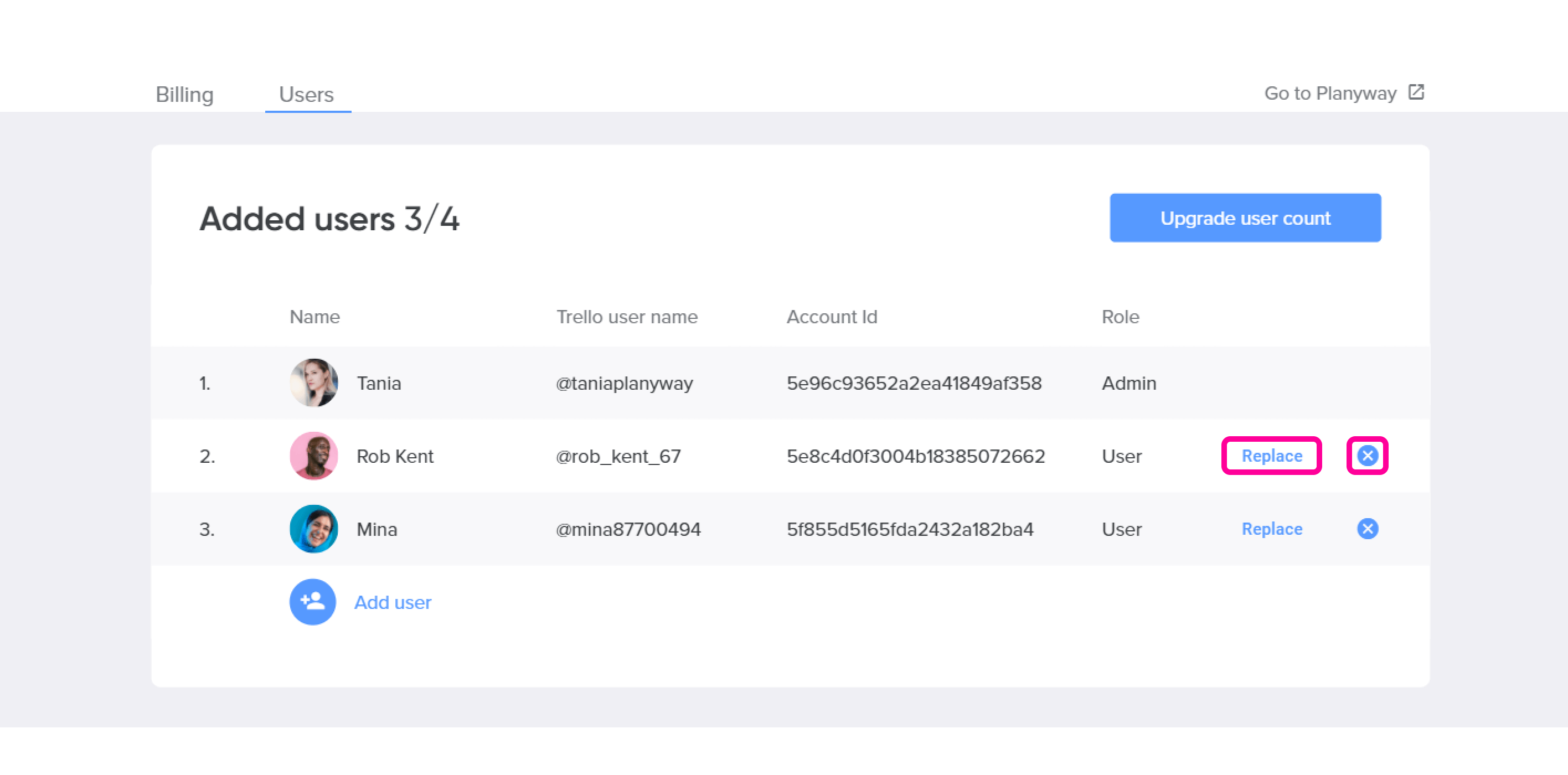 Account remove or replace user