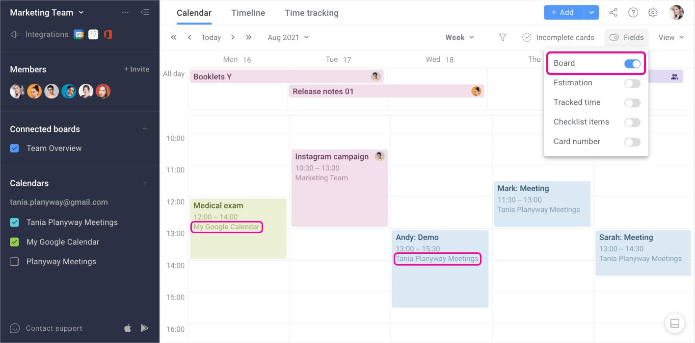 Planyway Google Calendar Integration Board Field
