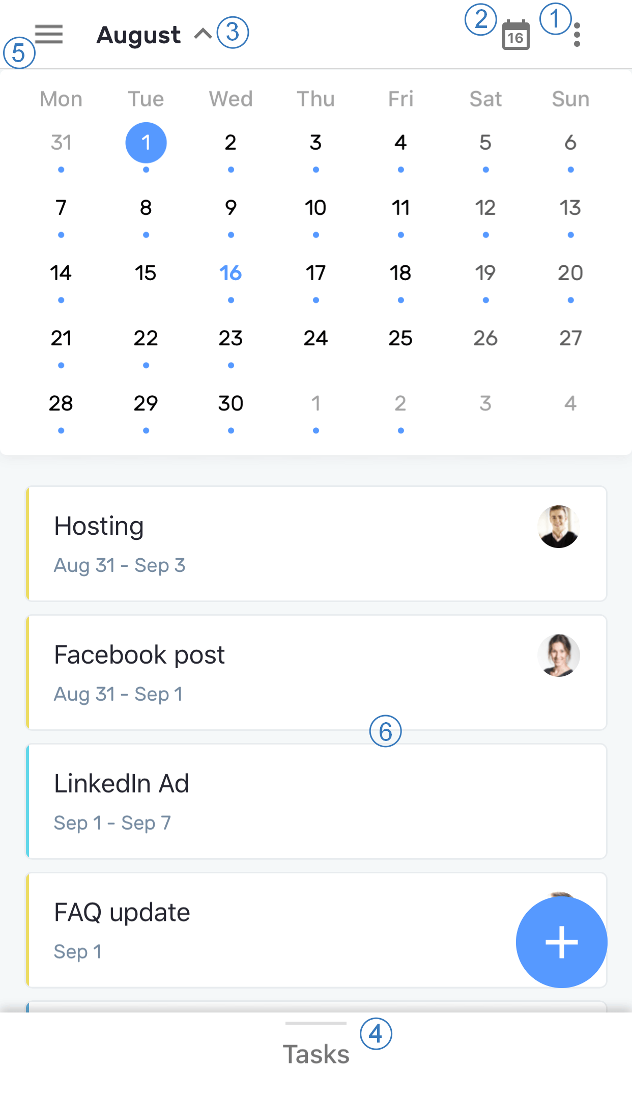 Planyway Mobile Month View Interface Overview
