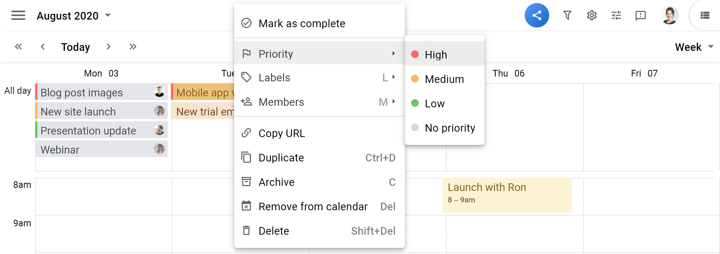 Planyway Calendar view card priority