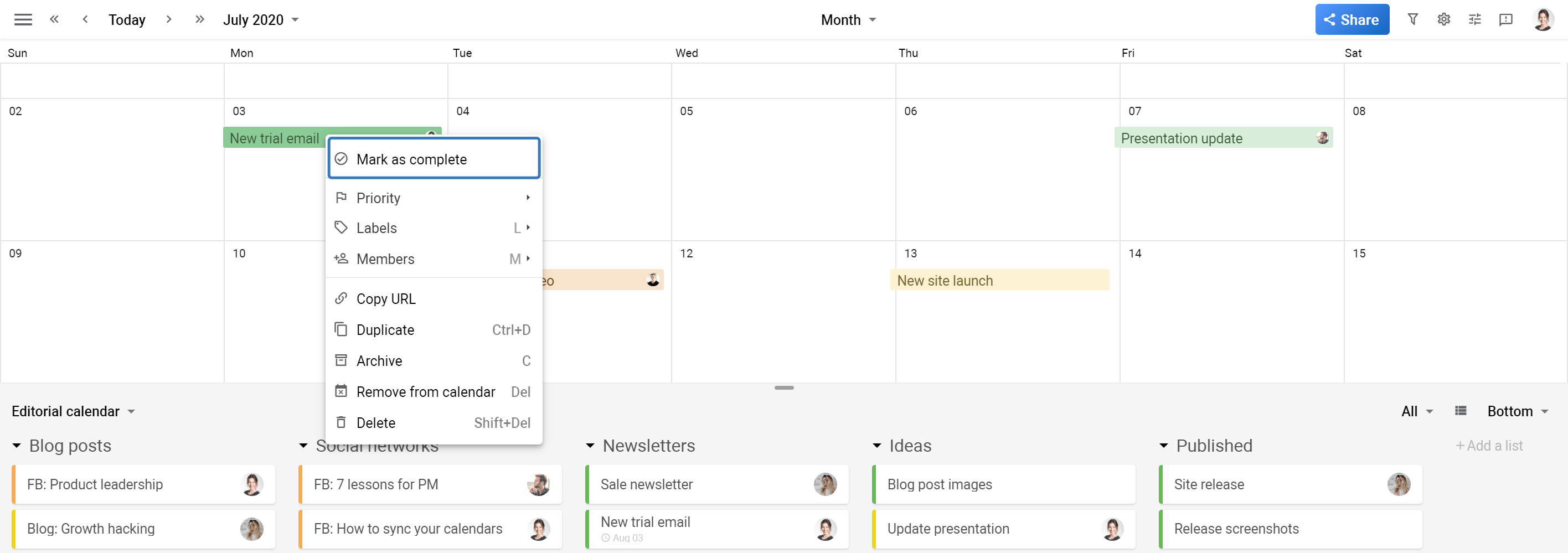 Planyway Calendar view mark as complete