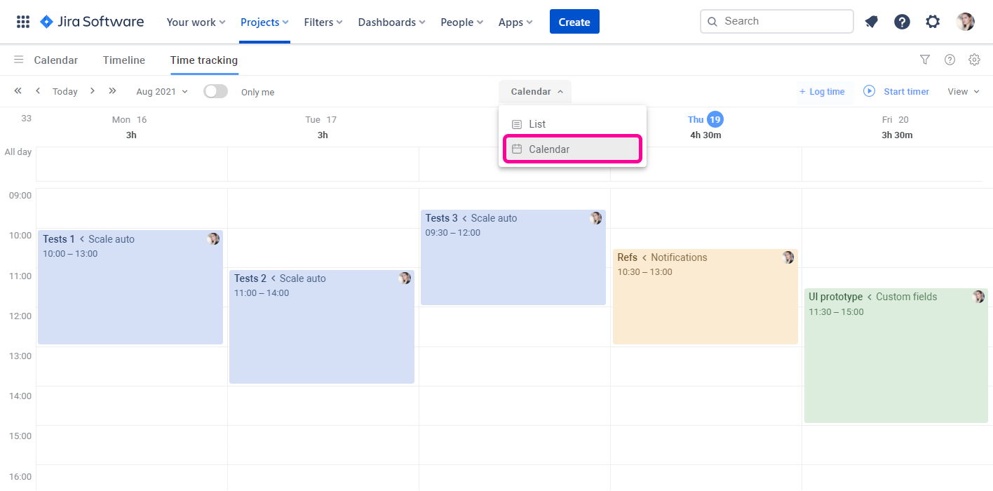 Planyway time tracking for Jira Calendar View