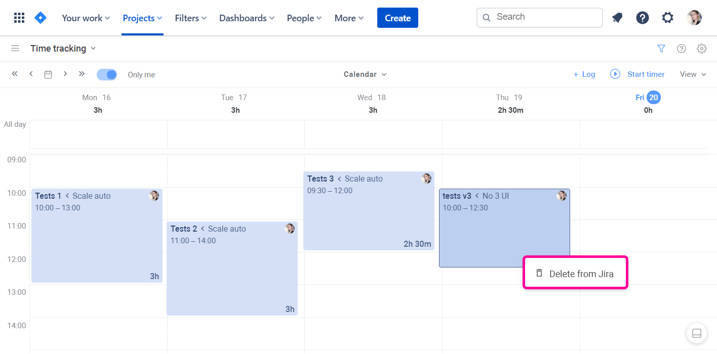 Planyway time tracking for Jira delete in Calendar