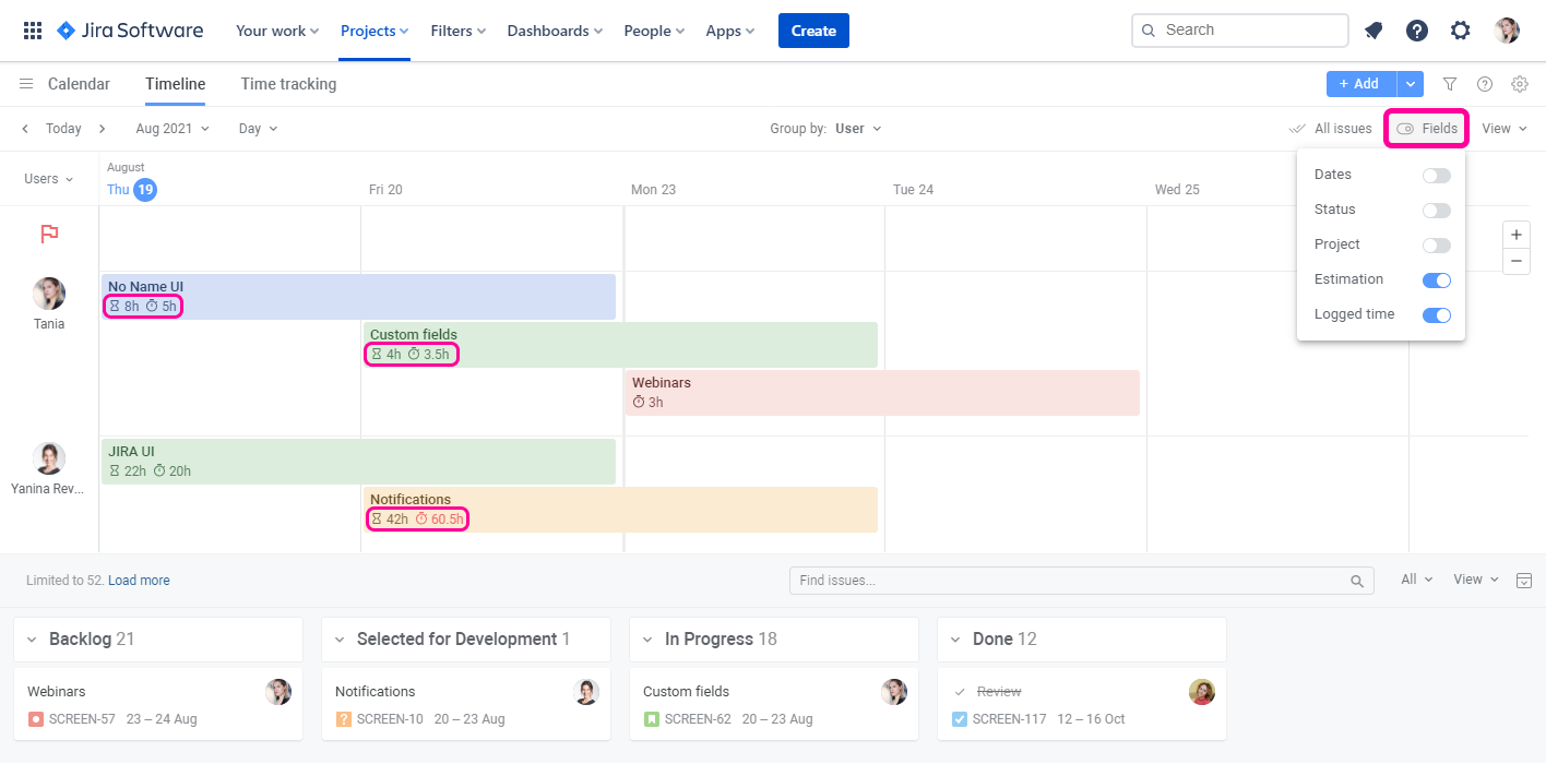 Planyway time tracking for Jira Fields