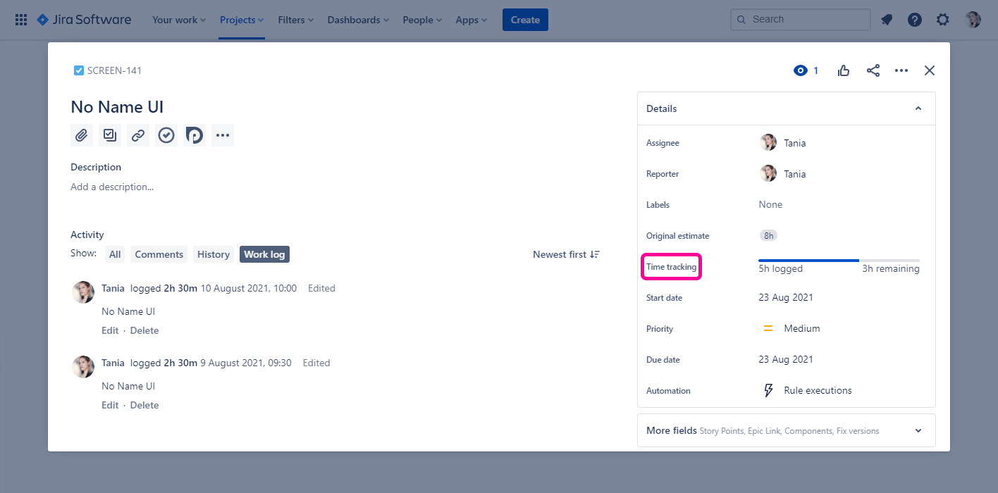 Planyway time tracking for Jira Issue Work Log