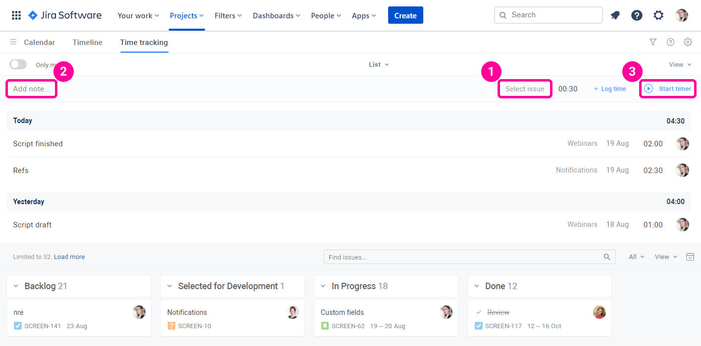 Planyway time tracking for Jira Timer