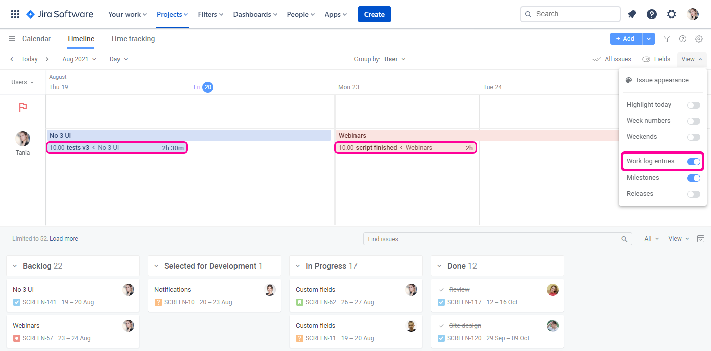 Planyway time tracking for Jira visualize entries