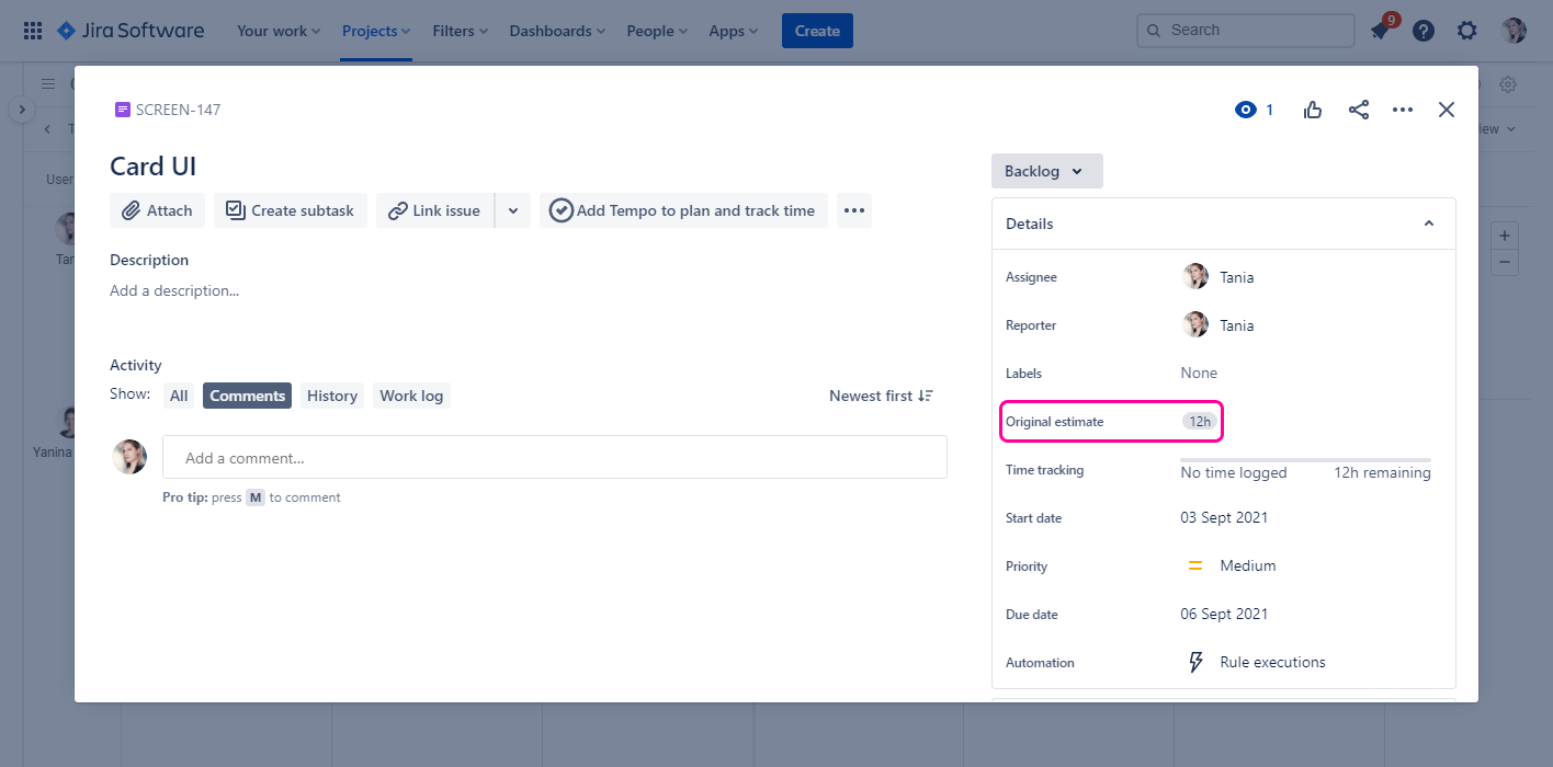 Displaying workload in Planyway for Jira Estimation
