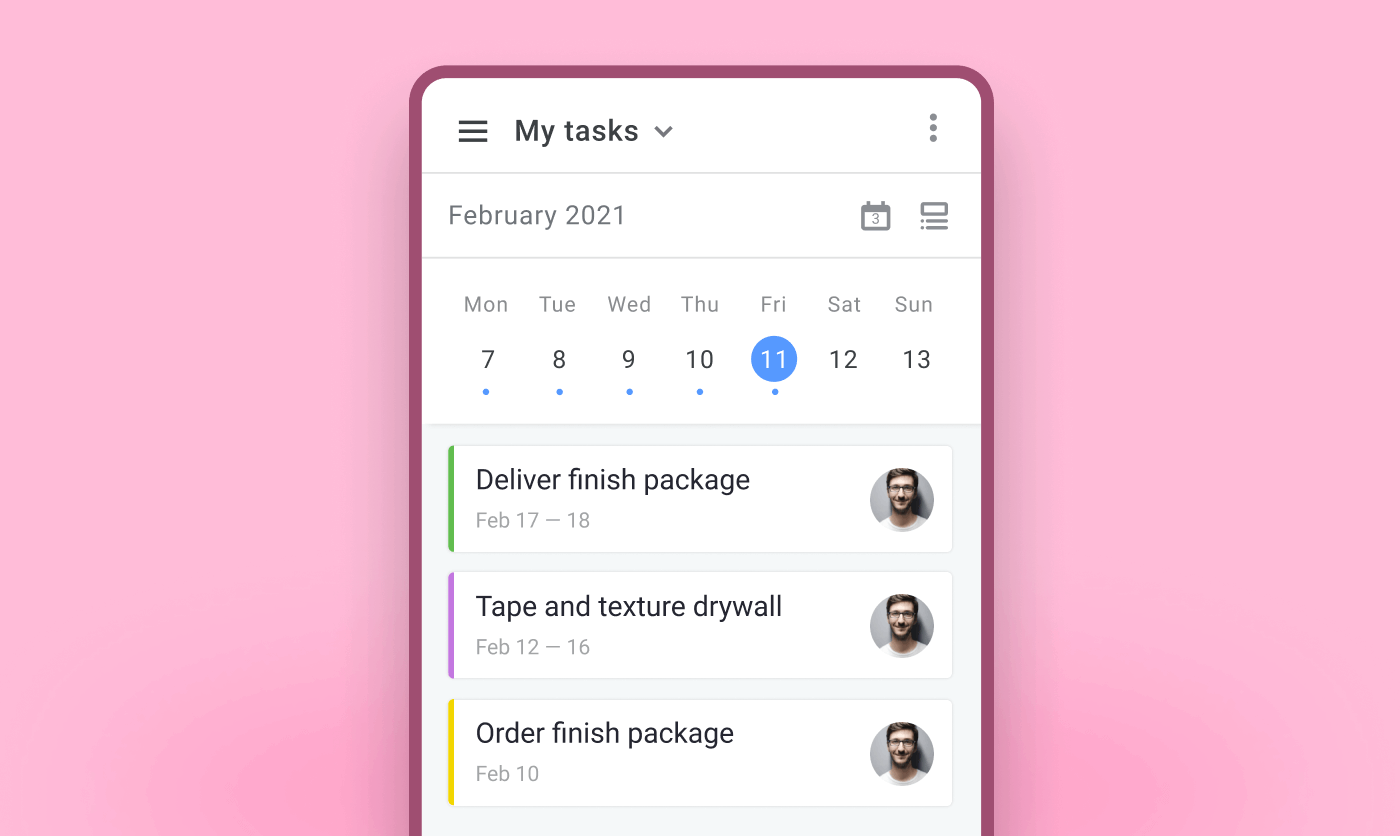 construction scheduling mobile