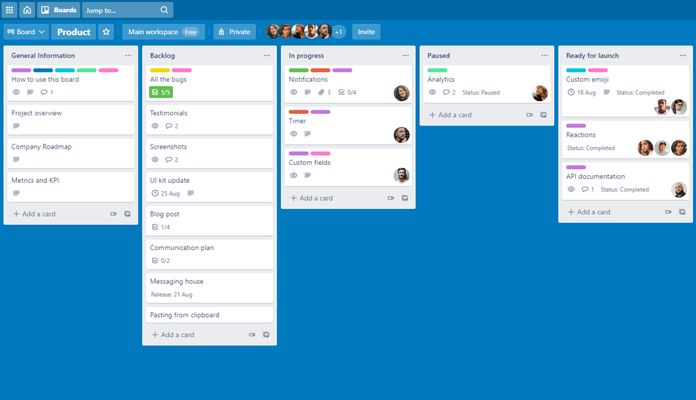 Trello board with lists