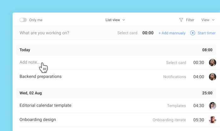 Trello Agile Project Management Planyway time tracking