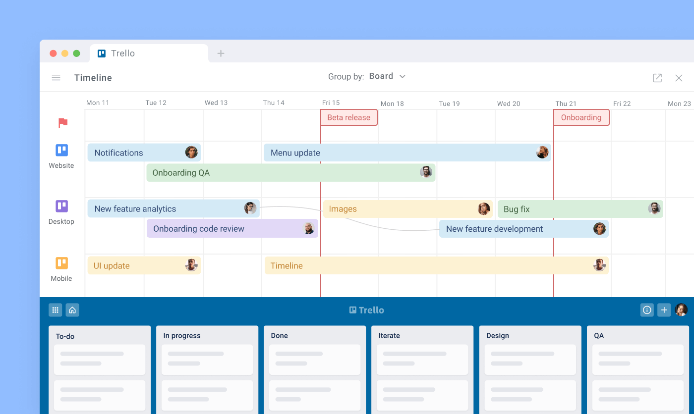 Planyway timeline board lane with dependencies and milestones