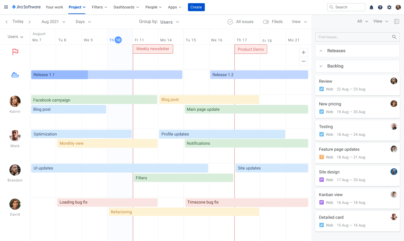 How to build Jira roadmap Planyway