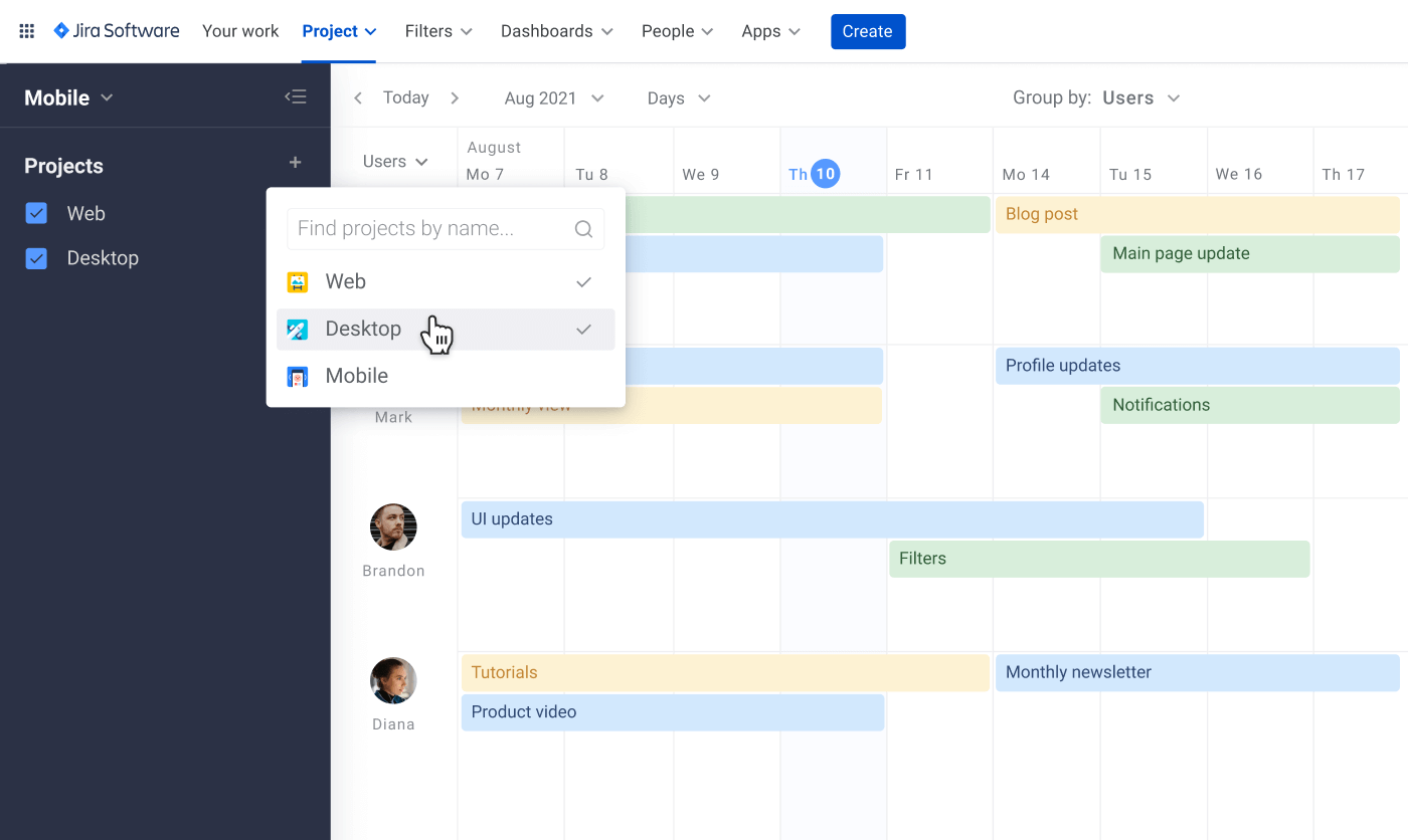 Guide to Jira resourse planning multiple projects